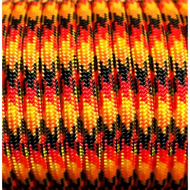 Паракорд 550, Paracord 550 Type III, Flame Black&Red&Gold&Orange #148