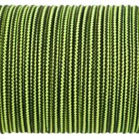 Paracord Type I 100, Strips Black&LimeGreen #027m